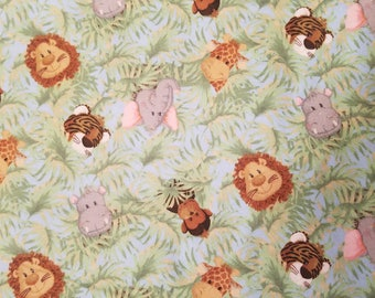 Baby Jungle Animals Flannel Fabric