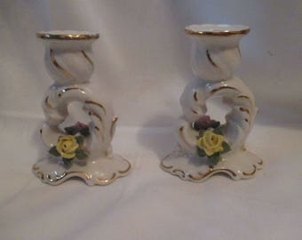 Pretty Antique PAIR of DRESDEN CANDLESTICK Candle Holders Pink and Yellow ROSEs