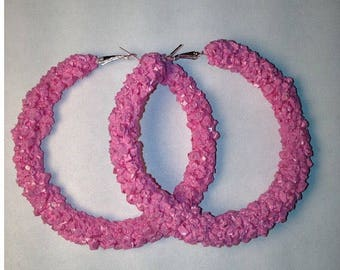 Bubble gum pink crystal hoop earrings