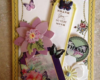Thank You Card/Handmade Card/3D/Floral/Main Colors are lavendar, purple and green/Features two large flowers, smaller flowers & butterflies