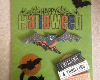 "Halloween Card/Handmade Card/3D/Features Bats, A Scary Black Cat and a Wicked Spider/Has a Large ""Happy Halloween"" Greeting"