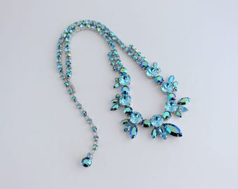 SHERMAN Vintage Signed Necklace Dazzling Blue Headlight Chatons and Turquoise Swarovski Rhinestones 1960s Era COLLECTIBLE JEWELRY