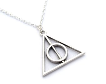 Silver Deathly Hallows Necklace.