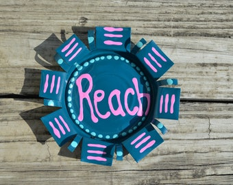 5 inch Deep Turquoise and Pink Reach Refrigerator Coaster OR Magnet