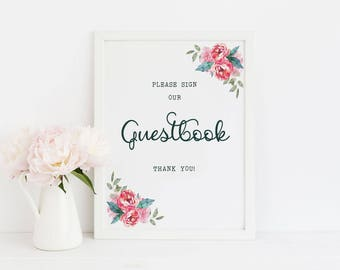 Guestbook sign printable, floral guestbook sign, wedding guestbook printable sign, guestbook wedding sign, WD-08