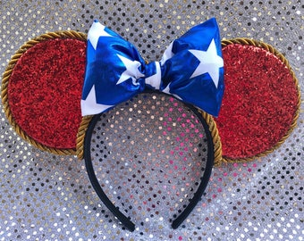 Sorcerer Mickey/mouse/headband/bows/glitter/stars/blue/red/ears