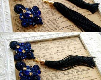 soutache earrings 2in1 with swarowski crystals