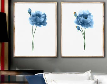 Peony Art Painting Set 2 Blue Peony Watercolor Art Print Abstract Flower Poster Wall Decoration Blue Peony Illustration Minimalist Art