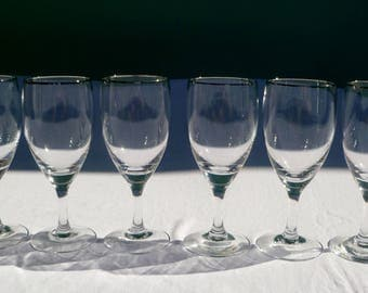 vintage set of 6 wine glasses with silver rim