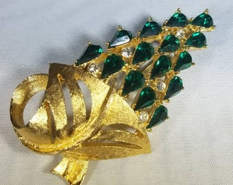Vintage-Green-Gold-Brooch-Pin-Jewelry-Accessories