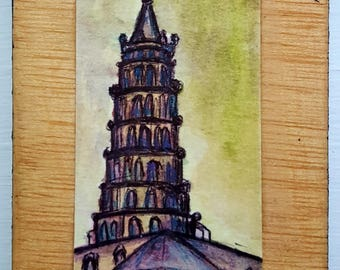 "Watercolor painting ""French Cathedral"""