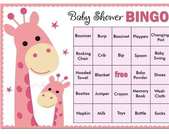 pink giraffe baby shower bingo, 60 giraffe Baby Shower Bingo Cards -  baby shower Bingo , Printable Blank Bingo Cards AND PreFilled Cards