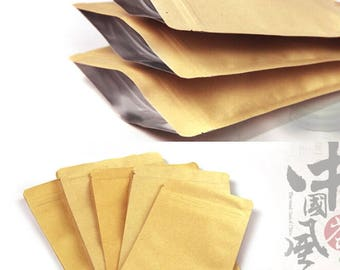 100pcs  3 sizes kraft paper bag food packaging bags ,ziplock coffee sample package bags          13x21cm     15x21cm     15x24cm