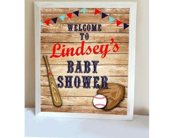 BASEBALL BABY SHOWER- Little Slugger Baby Shower Welcome Sign, Baby Shower Decor, Baseball Banner