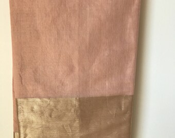 Raw mango pale pink tissue silk saree