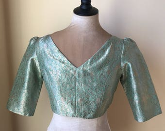 Raw mango silk brocade blouse