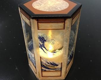 360 angle, Lamp (Transparent film, Lantern, Ukiyoe, Katsushika Hokusai, Mount-Fuji, Big Wave, Great Wave, Made in Japan)