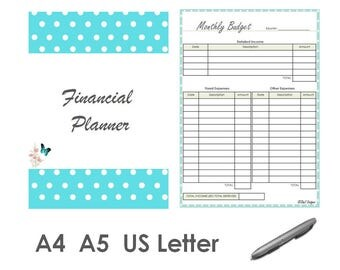 Financial Planner 2017 Organizer Printable PDF A4 A5 US Letter Sizes Turquoise Color