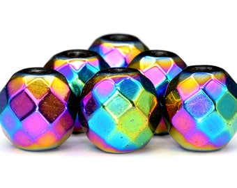 180 / 90 Pcs - 2MM Rainbow Hematite Beads Grade AAA Faceted Round Natural Gemstone Loose Beads (101383)
