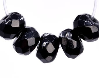 94 / 47 Pcs - 6x4MM Black Agate Beads Grade AAA Genuine Natural Faceted Rondelle Gemstone Loose Beads (103227)