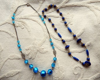 A Pair of Vintage 1930s Art Deco Metal Link Necklaces - One with Blue Foiled Glass Beads and the other with Peking Glass Lapis Type Beads