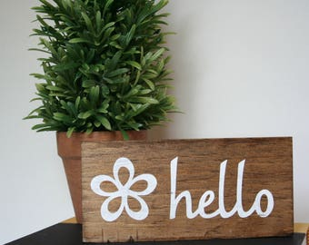 Wood Sign, Small Wood Sign, Tabletop Sign, Hello