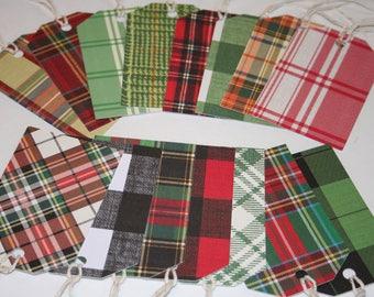Christmas Gift Tags, Holiday Gift Tags, Plaid Gift Tags, Set of 15 Gift Tags, Christmas Tags, Buffalo Check