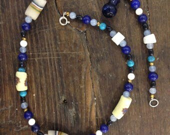 Celestial blue Glass Pearl Necklace with sterling silver clasp, Ghana and bottle cruet