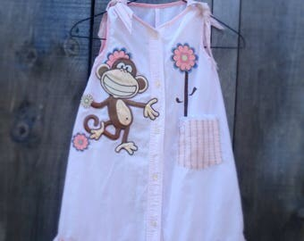 Hand Made Girl's dress Upcycled from a men's shirt.  Pink dress with Monkey motif, Age 7.