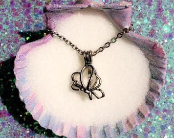 Any Color Akoya Oyster with pearl inside & Butterfly Charm Cage with Chain