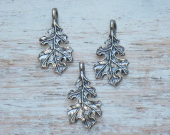 Antique Silver Maple Leaf Charms, Maple Leaf Charms, Leaf Charms