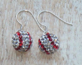 Swarovski Crystal Encrusted Baseball Sterling Silver Dangle Earrings  Baseball Earrings Crystal Earrings