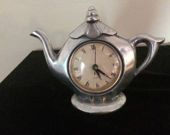 Silver plated Teapot Clock