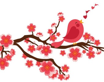 TREE with BIRD wall decal sticker art for home