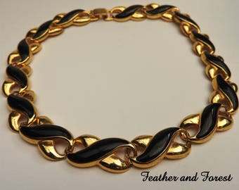 Vintage Black and Gold Necklace 80s Necklace Vintage chocker Necklace Black and Gold Neklace