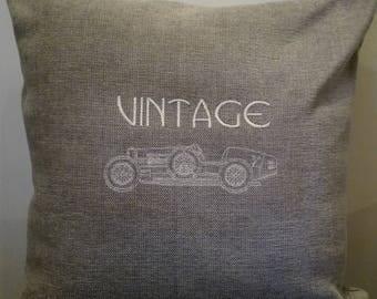 Cushion, old vintage race car, embroidered, Brand New, Hand made UK