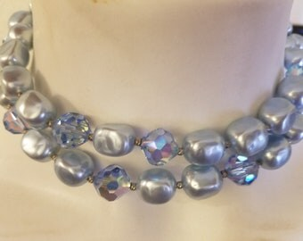 Beautiful Vintage 2 Strand Necklace and Matching Clip On Earrings
