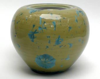 Blue and Green Crystalline Vase