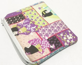 Geisha small kawaii pouch, zipper purse pouch
