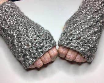 CROCHET WRISTWARMERS Fingerless Gloves, Textured ,Sparkly,  Bling, warm and cozy mitts