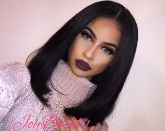 Peruvian Bob Frontal Lace Wig Virgin Human Hair With (Middle part)