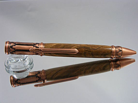 Ink Pen in Venetian Gothic Style, Antique Copper and Ambrosia Maple
