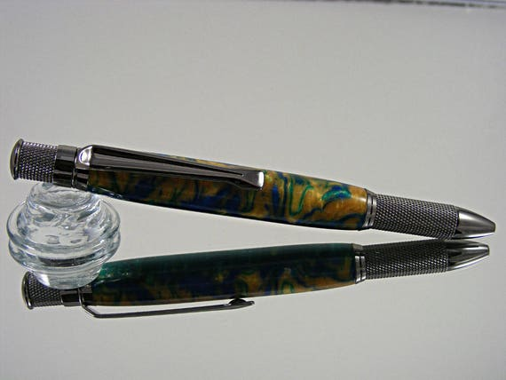 Handcrafted Knurled Pen in Gun Metal and Desert Oasis Acrylic