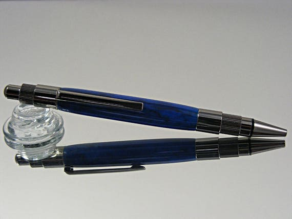 Handcrafted Click Top Pen in Gunmetal and Infrared Acrylic