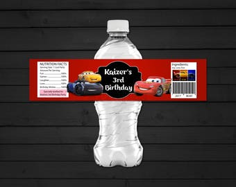 Personalized Cars 3 Water Bottle Label Printable Lightning Mcqueen Cruz Ramirez Jackson Storm DIY - Digital File