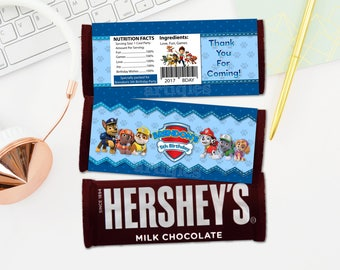 Personalized Paw Patrol Hershey's Chocolate Bar Wrapper Favor Labels Candy Bar Favors Blue Polka Birthday Party Printable DIY - Digital File