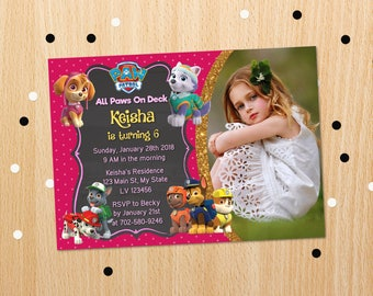 Personalized Paw Patrol For Girls Skye Everest Insert Photo Card Birthday Party Invitation Invite Gold Accent Printable DIY - Digital File