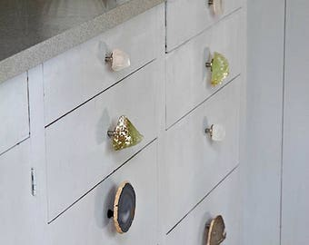 Crystal and gemstone knobs and handles