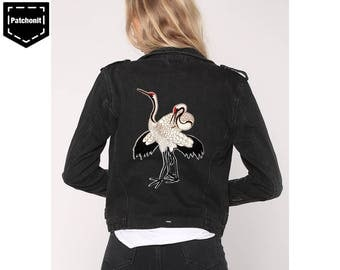 Extra Large Iron on Patch Crane Embroidered Patch Denim Jacket Crane Patch Aesthetic Patch Cool Iron on Patch Large Back Patch Denim Jacket