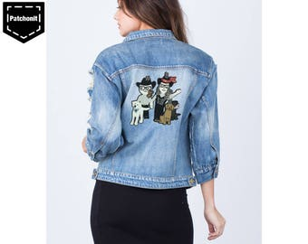 Dog Iron on Patch Cat Embroidered Patch Dog Patch Cool Iron on Patch Paw Patrol Patch Aesthetic Patch Large Back Patch Denim Jacket
